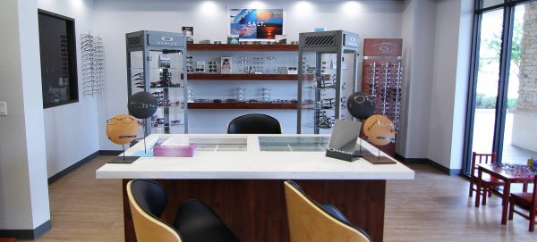 The beautiful interior of Gee Eye Care in Missouri City, Texas